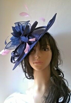 Navy Blue Fascinator with pink Feathers .Hatinator shaped disc Wedding.races.new