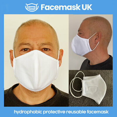 Face Mouth Mask X 2 - Protective Hydrophobic Tech. Waterproof 100% Cotton WHITE