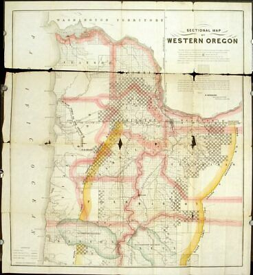OREGON EARLY SETTLEMENT AND / Sectional Map of Western Oregon LATE 1800s 1878