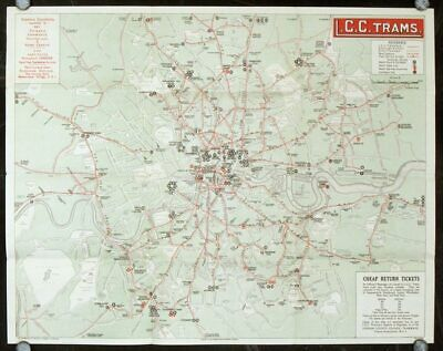 ENGLAND LONDON TRAM MAP / Map and Guide L C C Trams 1924