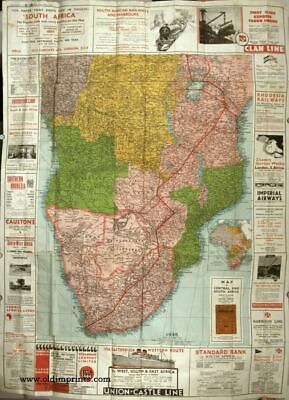 AFRICA / AVIATION / RAILWAYS / Map of Central and South Africa 1935