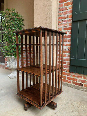 Antique English Tiger Oak Revolving Rolling Bookcase Bookshelf Arts & Crafts