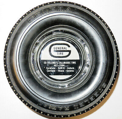 rare vintge GENERAL TIRE ASHTRAY ED TELLINGS TALLMADGE Ithaca Geneva New York NY