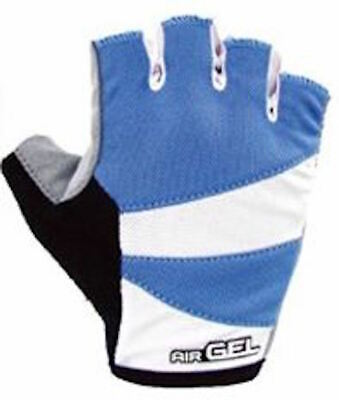 Cycling Bike Bicycle Gel Padded Half Finger Fingerless Gloves Unisex Blue Gray