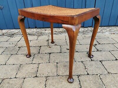 Antique Piano Stool, Dressing Table Stool, cabriole legs with cane seat.