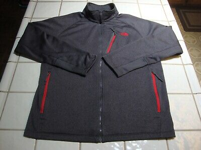 North Face Full Zipper Jacket Dark Charcoal Gray Polyester Mens Size Large