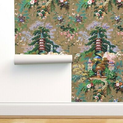 Removable Water-Activated Wallpaper Toile Chinoiserie Asian Gold White Chinese