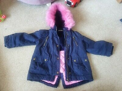 Girls Winter Coat Aged 2-3 Years hooded with soft fur lining - by fearne cotton