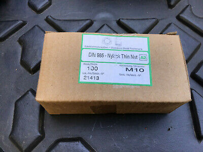 Box of 100 M10 A2 Stainless Nylon Locking Thin Hex Nuts - DIN 985