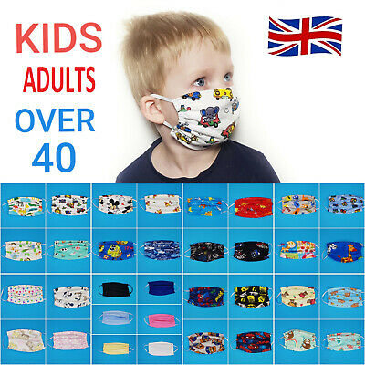 UK seller 100% Cotton Mask Adult & Kids Face mouth protection Reusable Washable