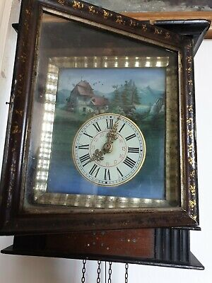 Antique Black Forest Picture Clock wood frame movement to restore