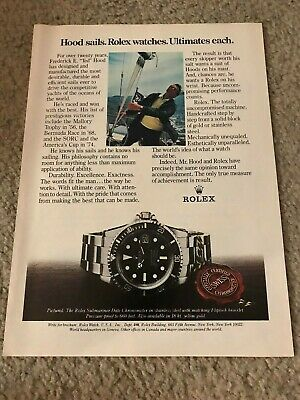 Vintage ROLEX SUBMARINER DATE CHRONOMETER Watch Print Ad 1980s TED HOOD SAILING