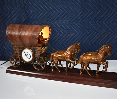 Vintage Covered Wagon Bar Lamp Seagram's VO Whiskey 4 Horse Team w Animated Whip