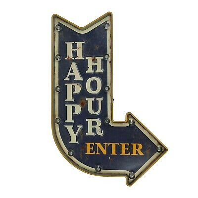 "LED Lighted ""Happy Hour"" Arrow Sign Wall Decor"