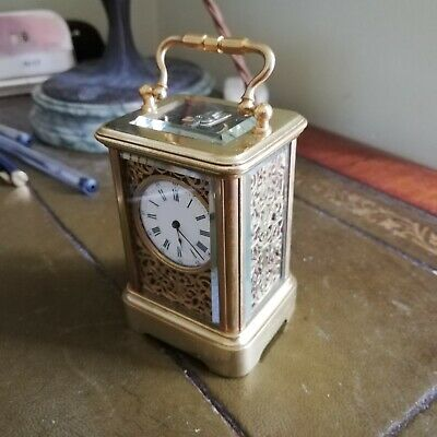 French miniature carriage clock silk fret panels