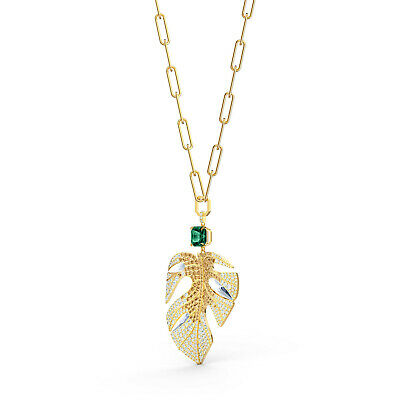 Swarovski Crystal Tropical Pendant Leaf Gold 5512695.New In Box