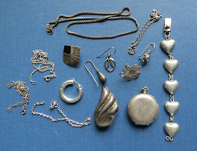 OLD STERLING SILVER JEWELRY FOR SCRAP CRAFTS - Chains Earrings Watch Bracelet
