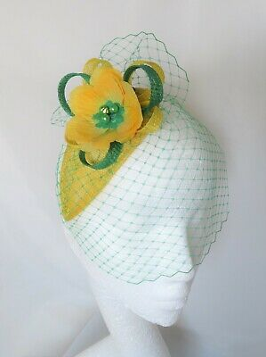 Canary Daffodil Bright Yellow & Emerald Jade Green Fascinator Headpiece Wedding