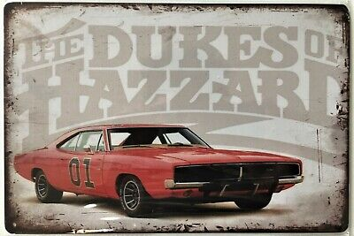 Dukes of Hazzard General Lee 1969 Charger Tin Sign (Man Cave Mopar Ford Chevy)