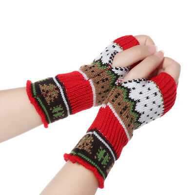 Thick Warm Arm Warmers Long Knitted Gloves Christmas Tree Fingerless  Mittens