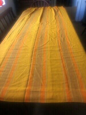 Vintage Pair Of  Mid Century Modern Woven Fabric Drapes Curtains Pleated