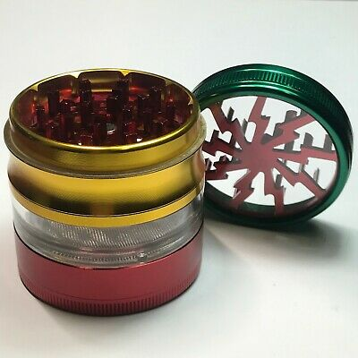 2.5 Inch 4 Piece Large Metal Dry Herbal Herb Spice Smoke Tobacco Grinder Crusher