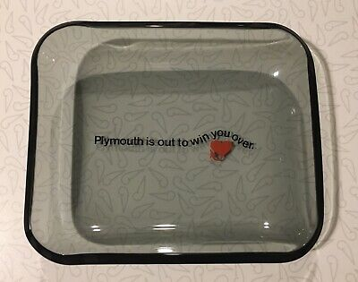 Plymouth Is Out To Win You Over Smoked Glass Ashtray Extremely Rare Mopar 1967