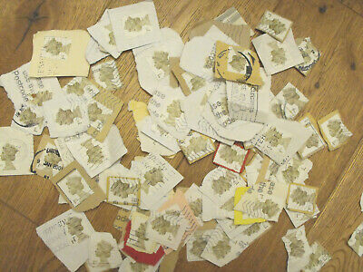 100 x 1st Class White  GB Stamps Non Security Used & Franked on Paper First QE2