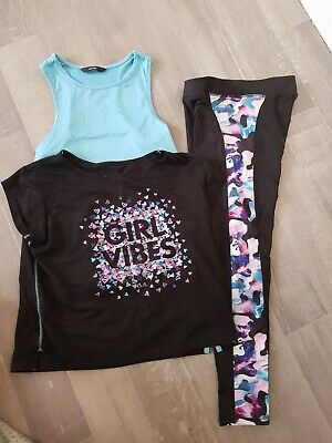 Girls - gym wear set /outfit - 8-9 Years - george - 3 pieces