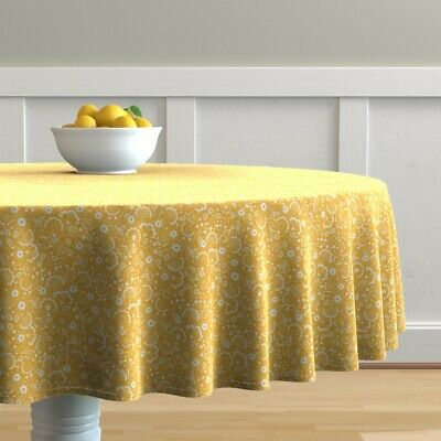 Round Tablecloth Early American Floral Sun Yellow Flower White Cotton Sateen
