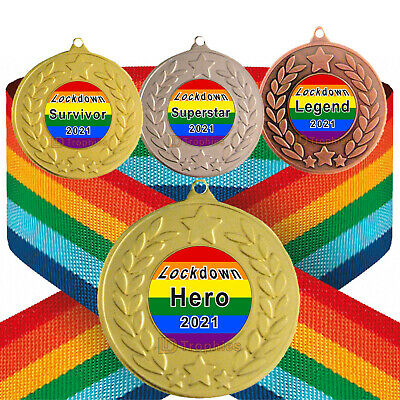 Lockdown Medal & Rainbow Ribbon, Free Engraving, HERO, Superstar. Survivor 2020