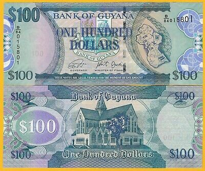 Guyana 100 Dollars p-36d ND (2005-2016) UNC Banknote