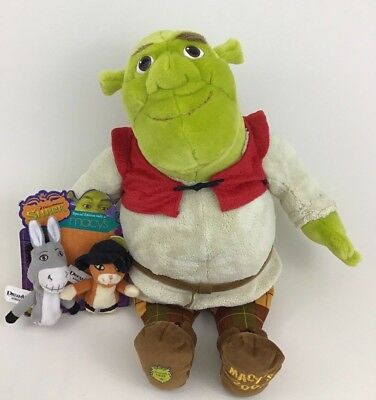 "Shrek the Third Macys Large 20"" Plush Stuffed Toy with Finger Puppets Dreamworks"