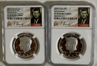 2020 S 50c SILVER & Clad Kennedy Half Dollars  Both NGC PF70 UC Early Signature