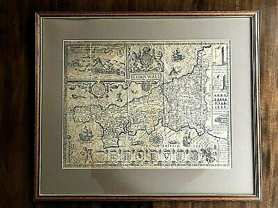 Vintage County Map of Cornwall after John Speed