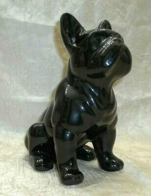"Black Ceramic French Bulldog Figure Sitting Position 7.5"" Tall Frenchy Figurine"
