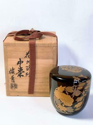 Japanese Wooden Lacquer Makie Tea Caddy Natsume Flower Rare Japan W/ Box