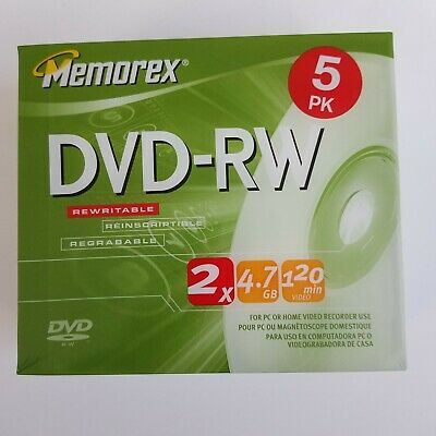 Memorex DVD-RW 5 Pack  2x 4.7GB 120 Mins For PC Or Home Video Recorder