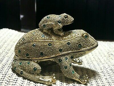 "Heavy Brass Large Frog Small Frog On Back Green Crystal Stones 4.25"" Trinket Box"