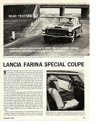 1962 Lancia Farina Special Coupe ~ Original 3-Page Road Test / Article / Ad