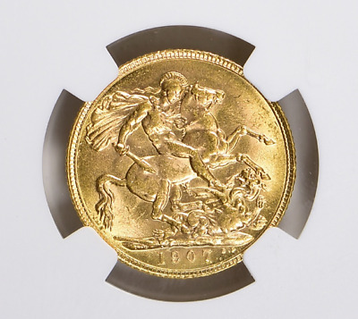 Great Britain ~ 1907 ~ Gold  Sovereign ~ Ngc Ms~61 ~ (Agw = 0.2354 Oz) ~ $578.88