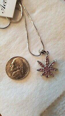 Blingy pink weed, cannabis, marijuana leaf necklace