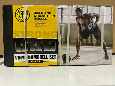Gold's Gym Vinyl Dumbbell Set 40lbs Weight Lift Adjustable Brand New Free Ship ✅