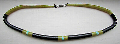 """VTG Native American Heishi Bead Necklace 18"""" Long Jet Turquoise Green Agate !"""