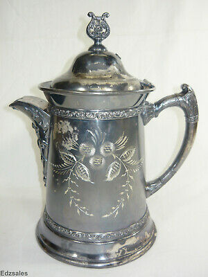 Ornate Silver Plate Lidded Water Pitcher Aurora beverage serving pot