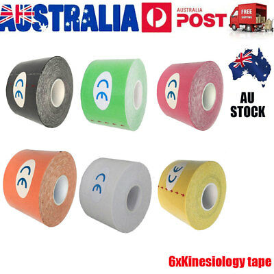 6x Kinesiology Therapeutic Elastic Tape Sports Gym Physio Muscles Care Bandage