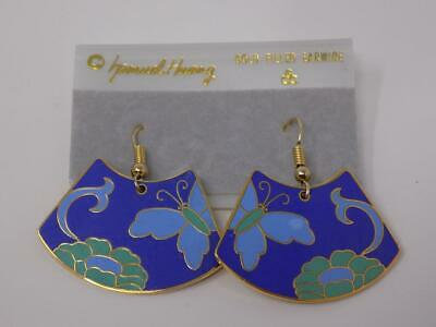 Vintage Samuel Huang Cloisonn\u00e9 Earrings White Lilly with Gray Accent