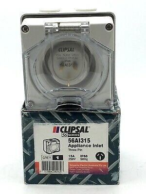 Clipsal Socket Appliance Inlet Power 56AI315 3 Pin 1 Phase 250V 15A IP66 Grey