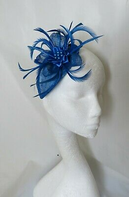 Sapphire Royal Classic Blue Sinamay Feather Fascinator Hat Headpiece Wedding