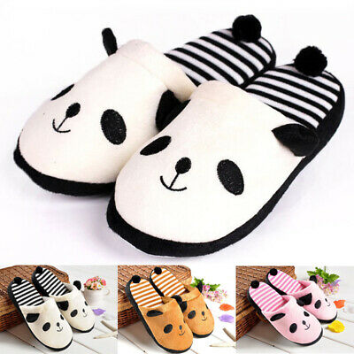 Womens Girls Winter Warm Indoor Home Panda Slippers Fleece Velvet Shoes Sandals